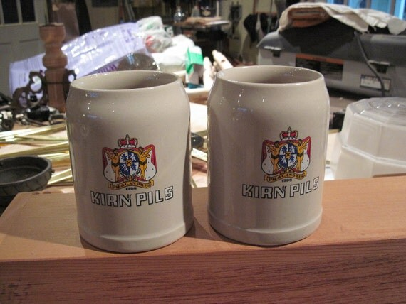 Vintage Stoneware Beer Steins Made in Germany for PH. & C. Andres 0.5 Liter - Kirner Pils