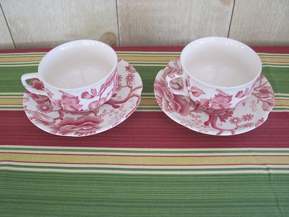 Vintage Pair of Johnson Brothers Teacups and Saucers - Red English Chippendale