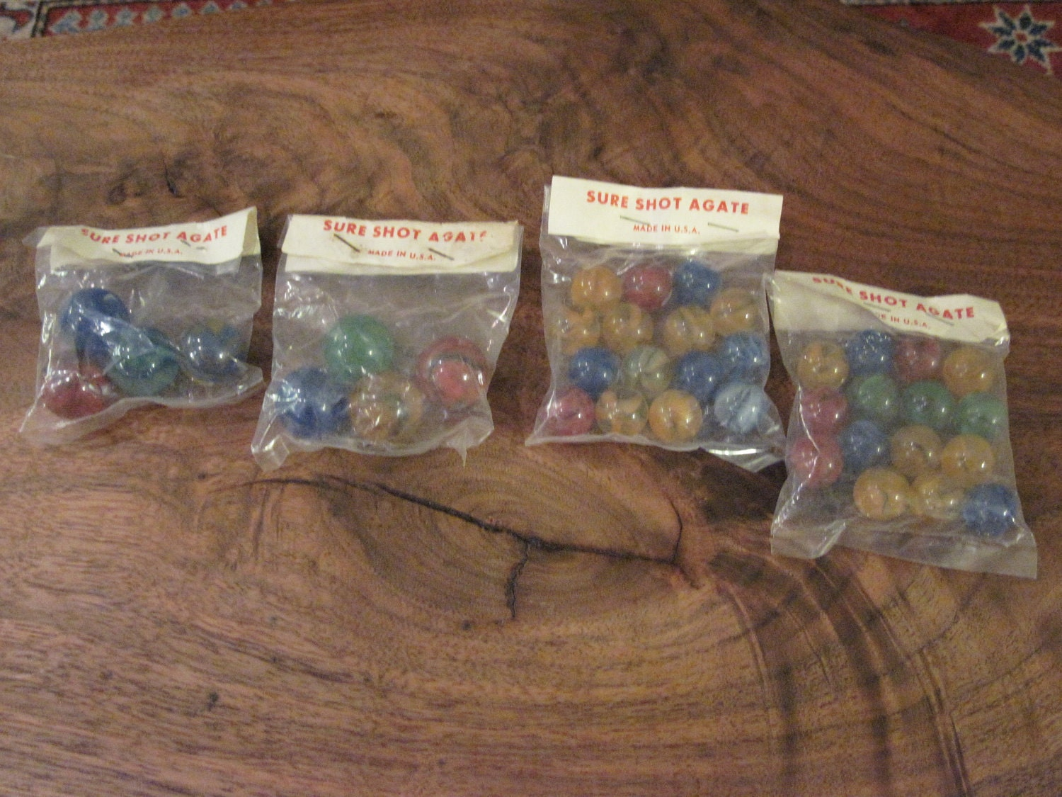 Four Bags Of Vintage Sure Shot Agate Marbles Made In Usa