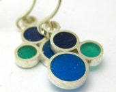 CLEARANCE 30% OFF: Purple, Blue and Green Resin and Sterling Silver Bubble Earrings