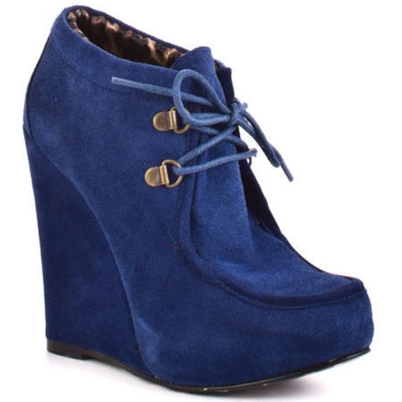 Avant Garde Bestsey Johnson suede  Wedge shoes//Cobalt blue//70's//9 10//boho