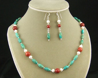 Turquoise, Coral and Pearl Necklace and Earring Set - SS112 - Free Domestic Shipping