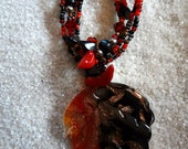 Autum Fire Fused Glass Beaded Pendant with Matching Earrings item B38