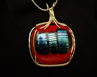 Candy  Apple Wire Wrapped  Dichroic GlassPendant B23