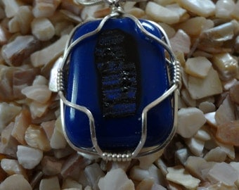 Midnight Blue Wire Wrapped Dichroic Pendant item B29