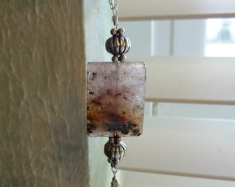 Agate and Amethyst Pendant   Stone Pendant Jewelry  Necklace  On Sale