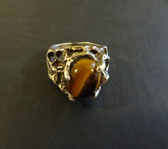 Abstract Sterling Silver and Tigers Eye Ring size 5