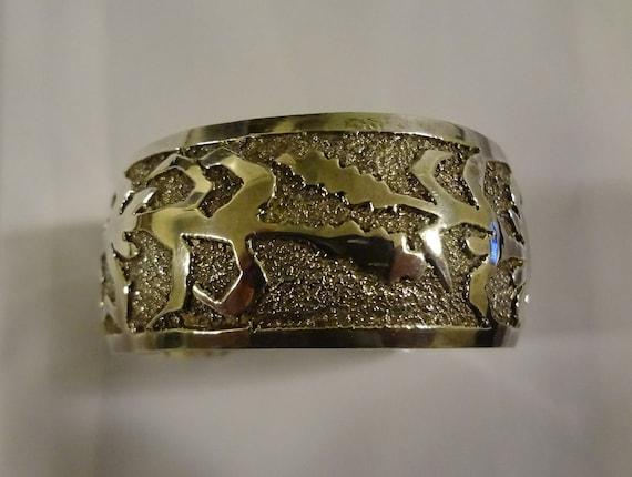 SALE ***Vintage Hallmarked Wheat design Sterling Silver Cuff Bracelet