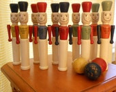 Vintage Wooden Toy Soldier Bowling Game
