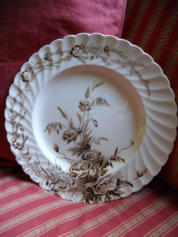 Vintage brown transferware plate Clarice Cliff
