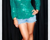 Cute chic sexy teal green floral pattern sequin blouse top shirt