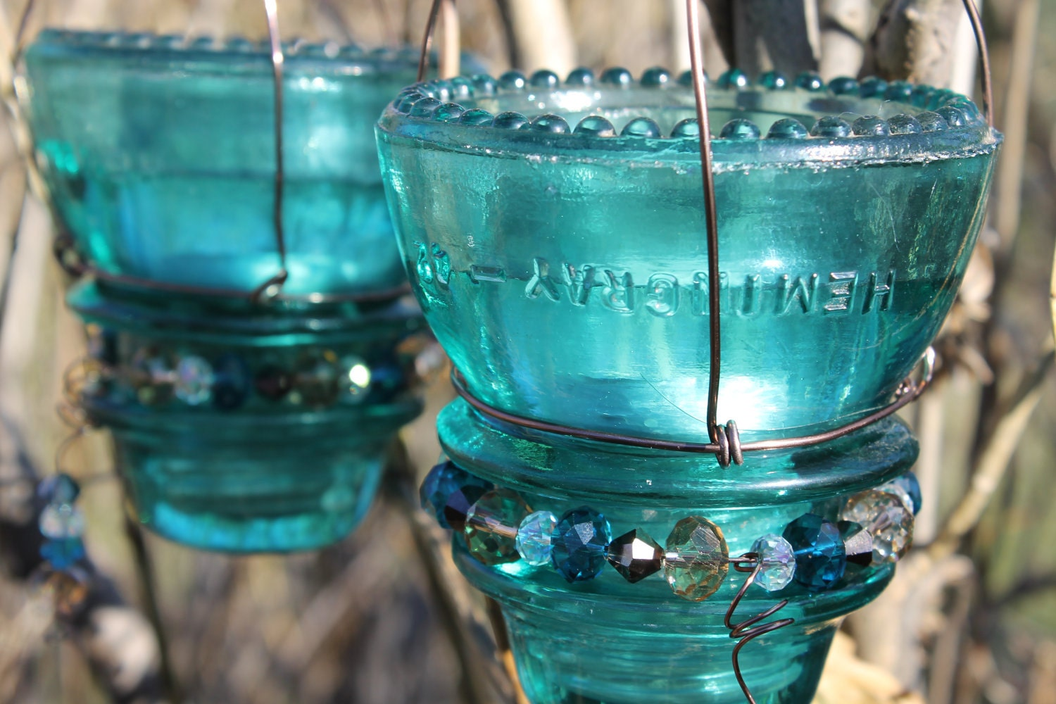 Hemingray 45 glass insulator hanging candle votive for Insulator candle holder
