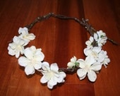 White Floral Head Wreath, Crown of Flowers