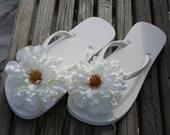 White/Ivory Floral Embellished Flip Flops