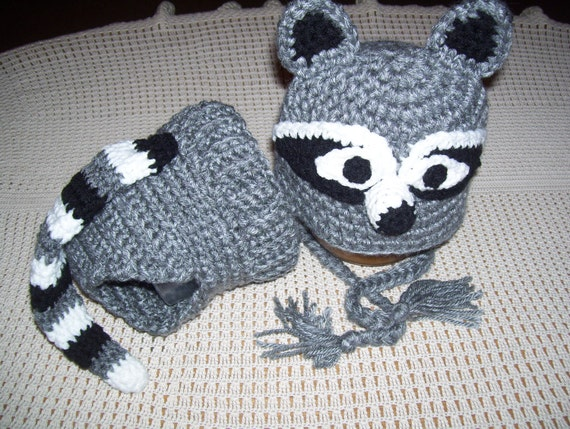 Crochet Pattern Raccoon Hat : Crocheted Raccoon Hat and Diaper Cover by QteePatooteescrochet
