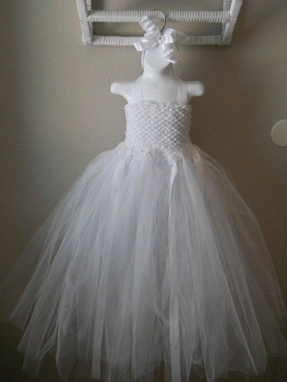 White Tutu Dress, Flower Girl Dress, Pagent Dress, Easter Dress