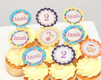 Candy birthday Cupcake Toppers