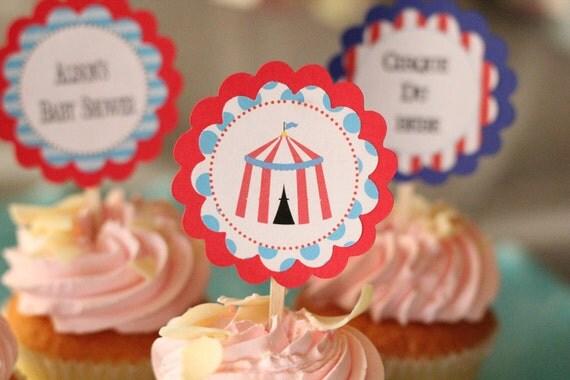 Cirque Du Bebe theme CUPCAKE TOPPERS