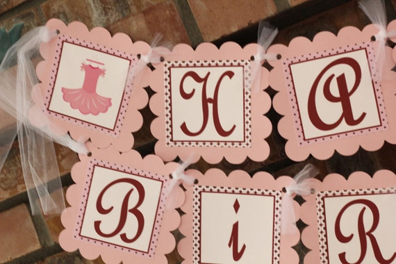Ballerina birthday banner in pinks and browns