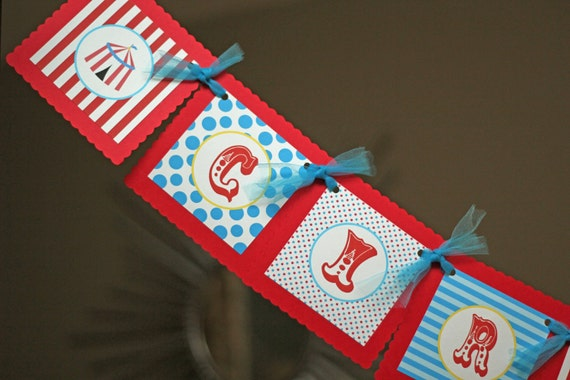 Cirque Du Bebe banner, Circus banner, Carnival banner, Baby Shower, Happy Birthday Banner in red and turquoise