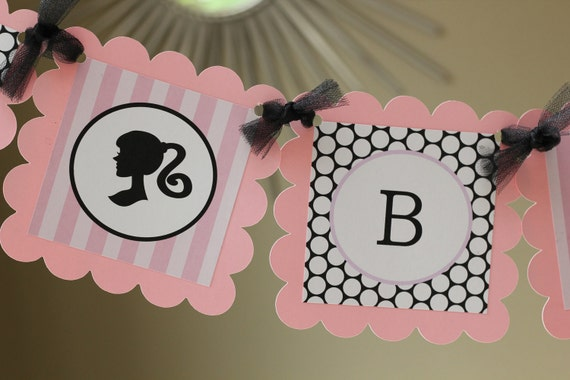 Little girl silhouette Happy Birthday banner