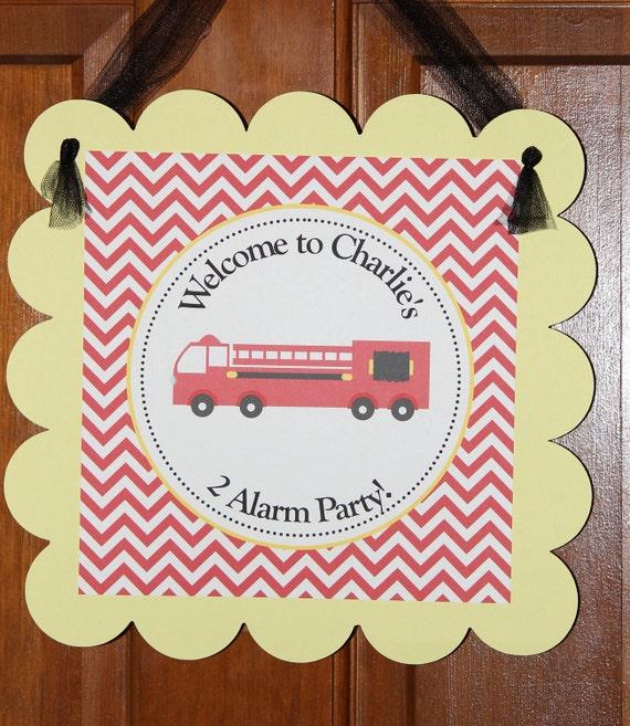Firetruck, fireman theme door sign
