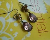 Swarovski trio rhinestone with  It. Amethyst jewels in oxidized brass with french wire  earrings -- E 2029