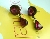 Swarovski  Round  vocalno red  jewels with fuchsia pear  in oxidized brass with post  earrings--.E2031