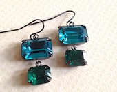 Swarovski octagon teal green with emerald jewel in a   french ear wire  earrings--- E 2019