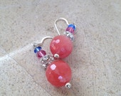 Faceted Cherry quartz with Swarovski rose and rhinestone ball dangles from sterling silver earring wires  --.E2031