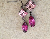 Swarovski square navette  rose  jewels in  oxidized brass  dangles from earring wires ---E2030