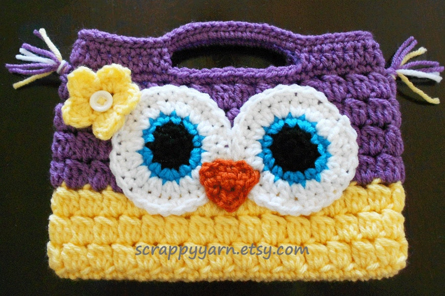 Crochet Owl Purse by ScrappyYarn on Etsy