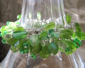 Green Cha Cha beaded  Bracelet with Czech glass, lampwork, glass and more beads