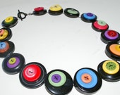 Rainbow & Black Button Choker Necklace