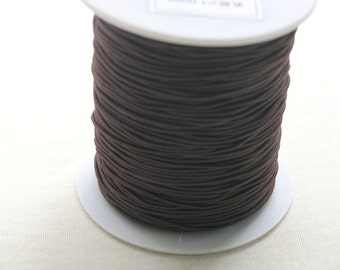 40m/44YD Round Dark Brown Cotton Stretch Elastic Beading Shock Cord/String Size 2.0mm