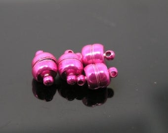 10 Sets Strong Purple Brass Jewelry Magnetic Lobster Clasp End Cap Dia. 6mm Best for Necklace