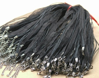 25pcs 17'' Black Organza Voile Ribbon Wax  Necklace Cord Adjustable Length