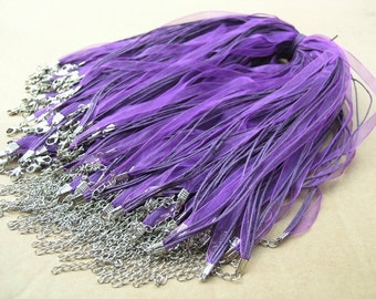 25pcs 17'' Purple Organza Voile Ribbon Wax  Necklace Cord Adjustable Length