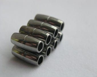 10 Sets Strong  Gun Metal Tone Brass Jewelry Magnetic Clasp Tube End Cap Dia. 4mm