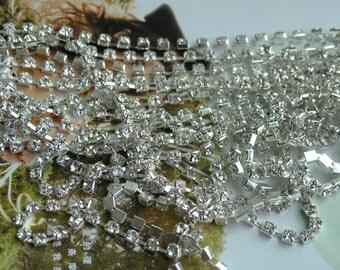 15 FEET 888 Clear Crystal Rhinestone Close Chain Trims Cup Chain Silver 5 Yards SS16 4.0mm Wedding Cake Decoration