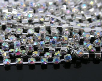 30 FEET 888 AB White Crystal Rhinestone Close Chain Trims Cup Chain Silver 10 Yards SS16 4.0mm Wedding Cake Decoration