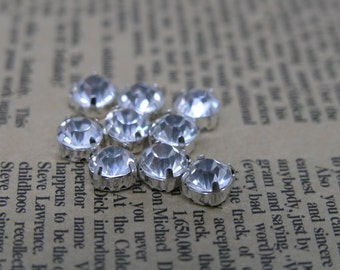 100pcs Loose Crystal Sew on Rhinestone Clear Stones in Silver Prong, SS25/5.0mm
