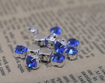100pcs Loose Crystal Sew on Rhinestone Button Royal Blue Stones in Silver Prong, SS28/6.0mm