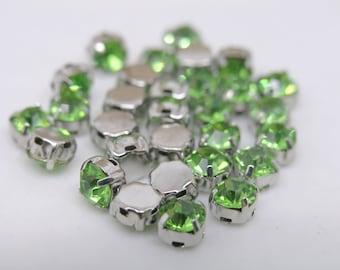 100pcs Loose Crystal Sew on Rhinestone Button Peridot Stones in Rhodium Prong, SS28/6.0mm