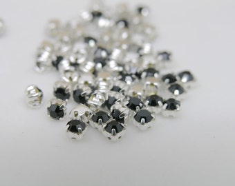 100pcs Loose Crystal Sew on Rhinestone Button Jet Stones in Silver Prong, SS18/4.0mm