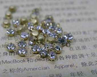 100pcs Loose Crystal Sew on Rhinestone Button Clear Stones in Golden Prong, SS18/4.0mm