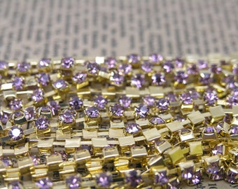 10Yard 888 Violet Crystal Rhinestone Close Chain Trims Cup Chain Golden Prong SS16 4.0mm Wedding Cake Decoration