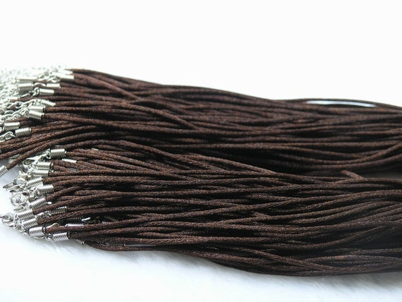 20pcs Brown  2mm Satin Silk Necklace Cord with Clasp Lobster 17'' adjustable length