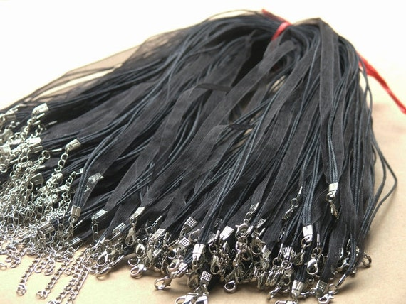 50pcs 17''  Black Organza Voile Ribbon Wax  Necklace Cord Adjustable Length