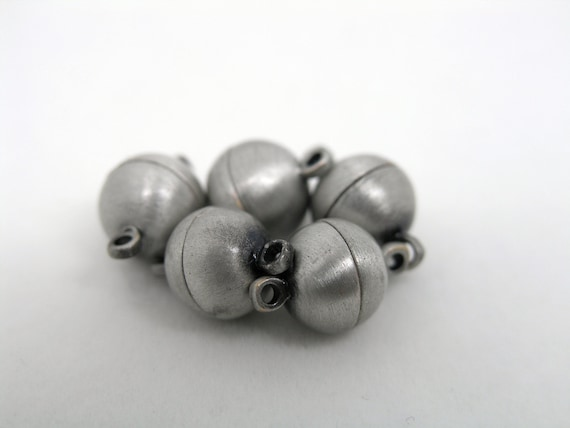 5 Sets Strong Gun Metal Tone Brass Jewelry Magnetic Lobster Clasp End Cap Dia. 10.0mm Best for Necklace